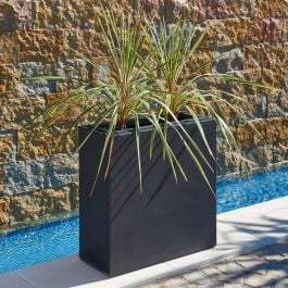 L80cm Black Zinc Tall Trough Planter With Insert - By Primrose™