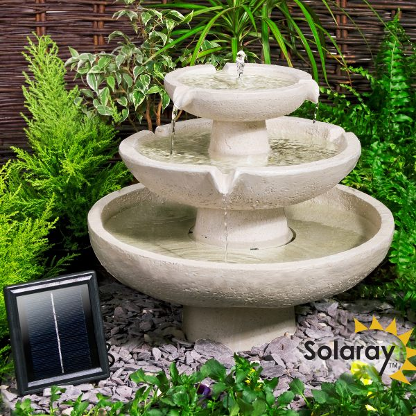 H42cm Barnwell Ivory 3-Tier Cascading Solar Water Feature by Solaray