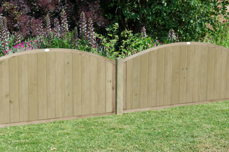 6ft x 4ft Fence Panel Pack of 3 - Pressure Treated Dome Top Tongue and Groove