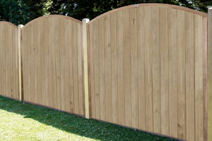 6ft x 6ft Fence Panel Pack of 3 - Pressure Treated Dome Top Tongue and Groove