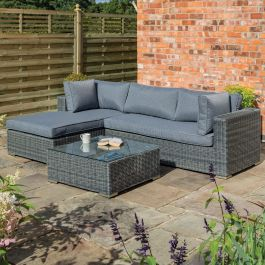 Vienna Four Seater Rattan Lounger Set in Grey by Rowlinson