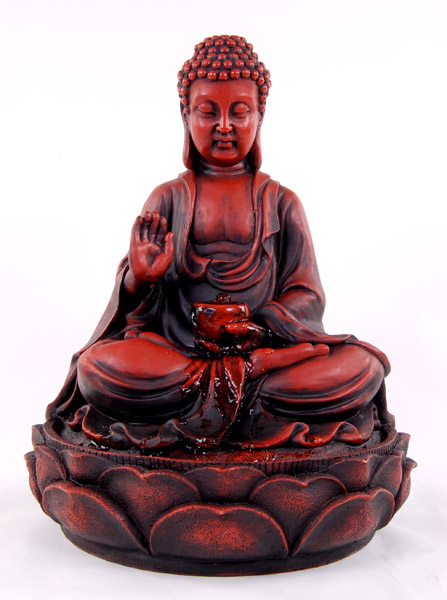 H39cm Red Buddha Water Feature by Ambienté™
