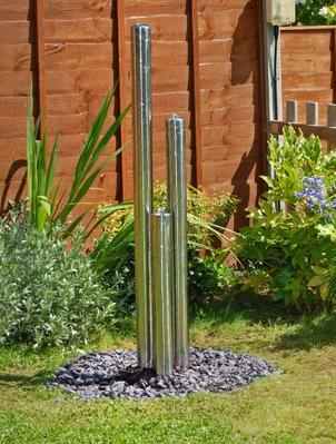 3ft (0.85m/65cm) Standard Three Tiered Tubes Water Feature With Lights on Base by Ambienté™