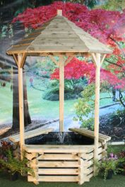 Large Wooden Wishing Well with Fountain