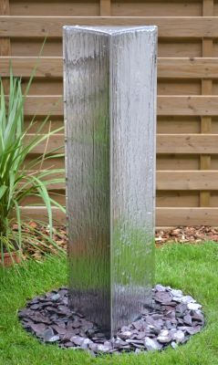 "Winslow Falls 1.8m (5'11"") Triangular Polished Stainless Steel Water Feature"