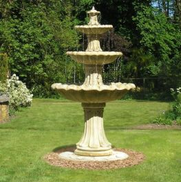 2m 3 Tier Classical Stone Fountain - Pond Version