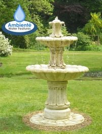 H120cm Classical 2-Tier Stone Water Fountain by Ambienté