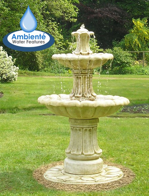 H3ft Classical 2 Tier Stone Water Fountain by Ambienté