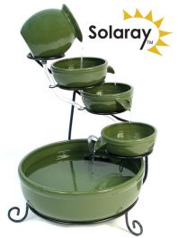 H55cm Green Solar Ceramic Water Feature with Battery Buackup & LEDs by Solaray