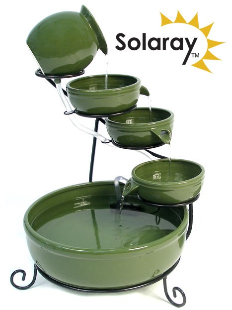 55cm Green Ceramic Solar Cascade Water Feature with Battery Backup and LED Lights by Solaray™