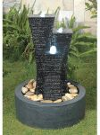 Fluted tower water feature with LED lights