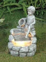 Boy Water Feature with Light
