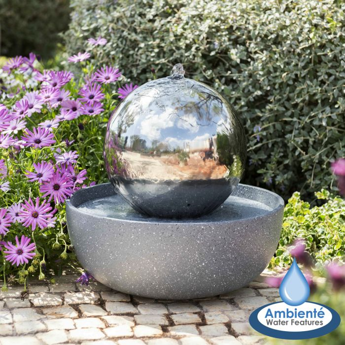 H45cm Eclipse Sphere Stainless Steel Water Feature with Lights | Indoor/Outdoor Use by Ambienté