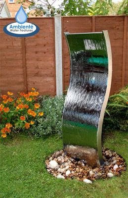 1.8m (5ft 11in) Double-Sided Curved Water Wall with Plastic Reservoir