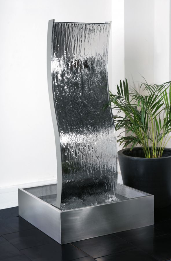 1.8m (5ft 11in) Double-Sided Curved Water Wall with Stainless Steel Reservoir by Ambienté™