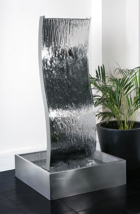 1.3m Double-Sided Curved Water Wall with Stainless Steel Reservoir