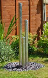 H167cm 3-Tier Tubes Water Feature with Lights | Indoor/Outdoor Use by Ambienté
