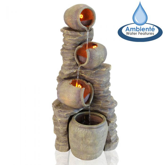 H117cm Noble 4-Tier Oil Jar Water Feature with Lights | Indoor/Outdoor Use by Ambienté