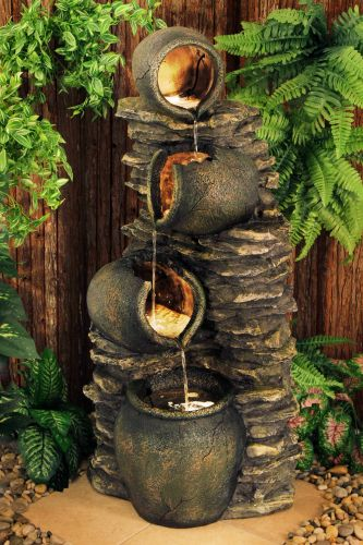1.2m Noble 4-Tier Oil Jar Water Feature with Lights