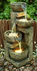 Four Bowl Cascading Water Feature With Lights