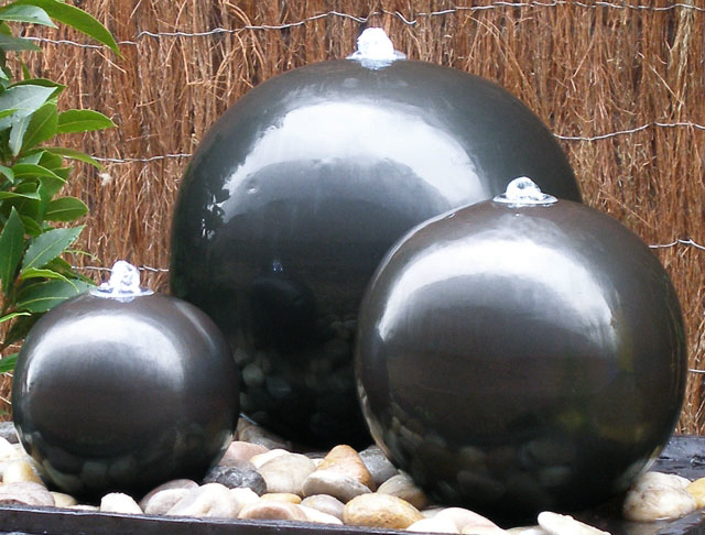 Ceramic Triple Sphere Water Feature With LED Lights by Ambienté™