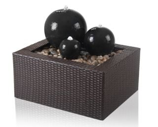 H34cm Triple Sphere Ceramic Water Feature with Lights by Ambienté