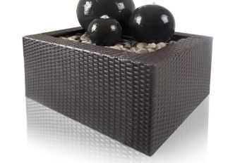 Ceramic Triple Sphere LED Water Feature with Rattan Surround