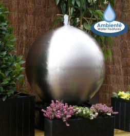 60cm Brushed Stainless Steel Sphere Water Feature with LED Lights by Ambienté™