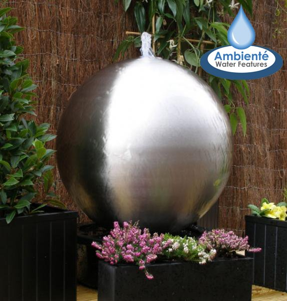 H60cm Brushed Sphere Stainless Steel Water Feature by Ambienté