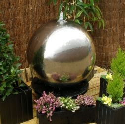 65cm Polished Stainless Steel Sphere Water Feature, LED Lights by Ambienté™