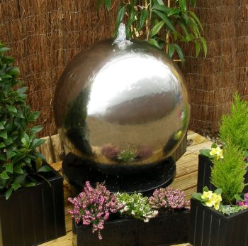 Polished 65cm Stainless Steel Sphere Water Feature, LED lights