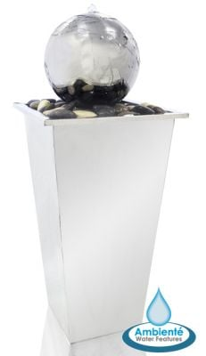 Tapered Stainless Square Column Water Feature with Sphere by Ambienté
