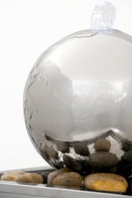 Hiro Stainless Steel Sphere Water Feature with LED Lights