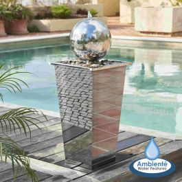 83cm Hiro Stainless Steel Sphere Water Feature with LED Lights by Ambienté™