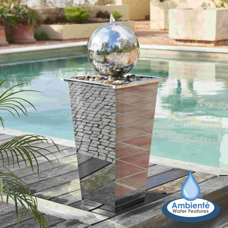 H83cm Hiro Sphere Stainless Steel Water Feature with Lights by Ambienté