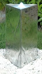 Triangular Stainless Steel Pillar Water Feature with LED Lights by Ambienté™