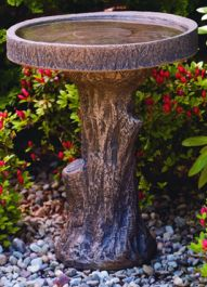 61cm Massarelli Tree Stump Bird Bath