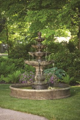 Massarelli Cast Stone Classic Four Tier Fountain with 6ft Pool