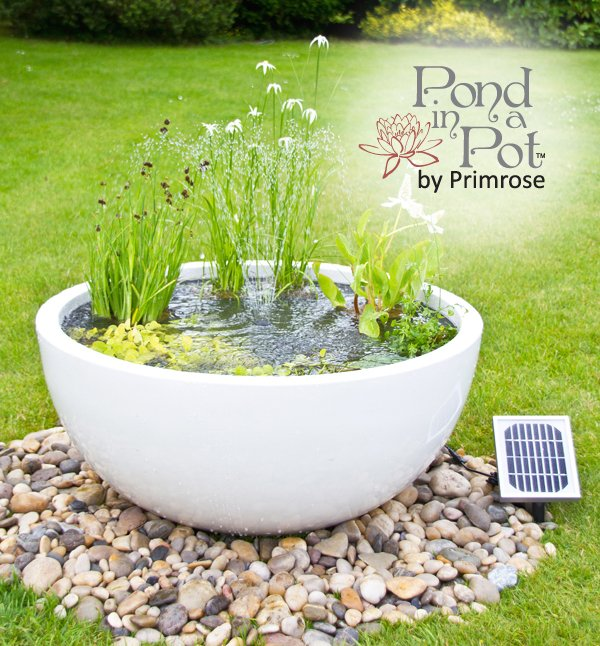 H34cm White Pond-In-A-Pot Semi-Shade Solar Water Feature