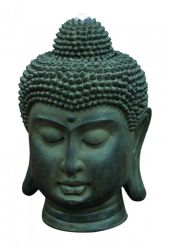 Stone Effect Buddha Head Water Feature with LEDs W37cm x H53cm