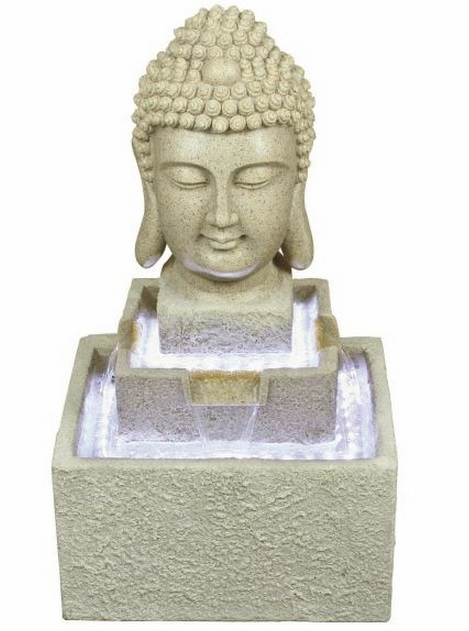Resin Sandstone Effect Buddha Cascade with Lights W48.8cm x H84cm