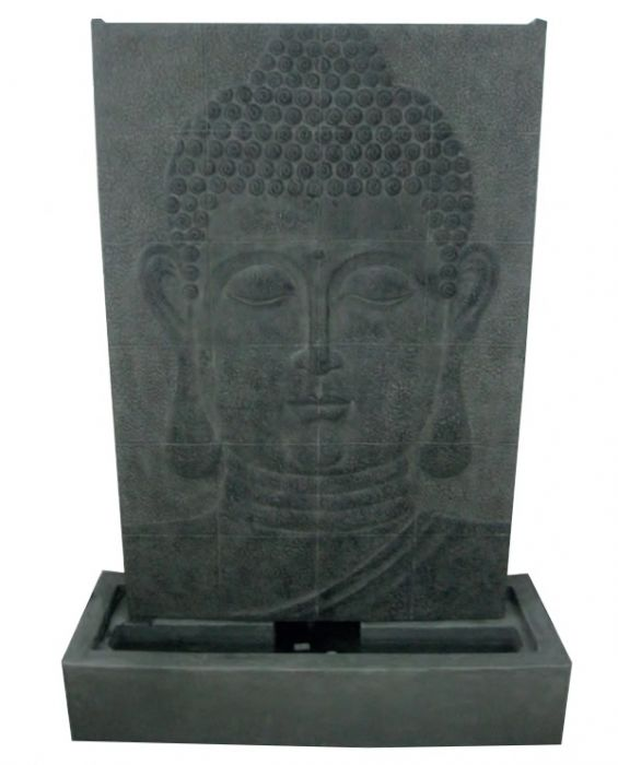 Large Grey Buddha Wall Water Feature with Lights H148cm x W107cm