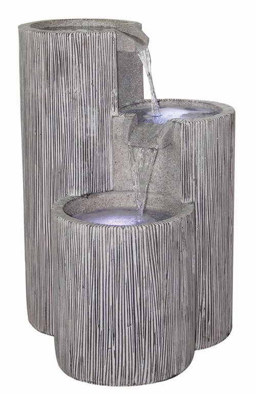 3 Bowl Textured Granite Water Feature with Lights H60.5cm x W43cm