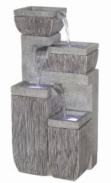 4 Bowl Textured Granite Water Feature with Lights W38.5cm x H80.5cm