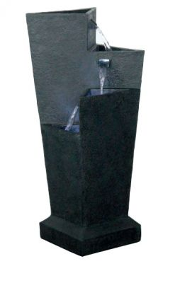 Triangular 3 Fall Tiered Water Feature - Black W27cm x H73cm