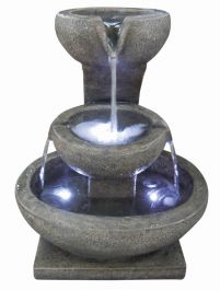 3 Granite Bowl Water Feature with Lights W47.5cm x H56.5cm