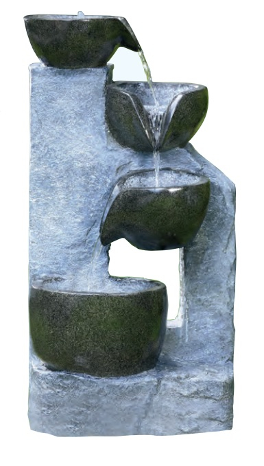4 Bowl Granite Cascading Water Feature With Lights W48cm x H85.5cm