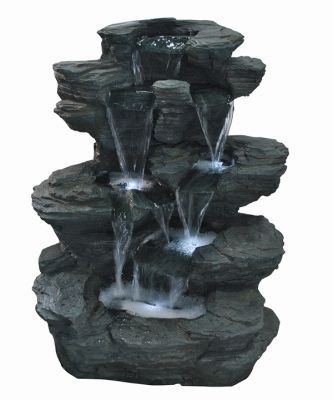 Medium Slate Multi Fall Water Feature with Lights W55cm x H68cm