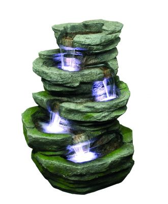 4 Fall Slate Water Feature with Lights W53cm x H81cm