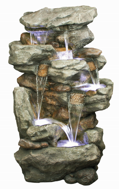 6 Fall Rustic Slate Formation Water Feature with Lights W83cm x H130cm